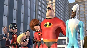 The Incredibles and Frozone stand victorious after defeating the robot and Syndrome.
