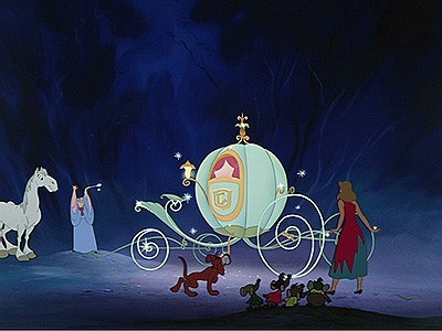 The Fairy Godmother turns a pumpkin into a beautiful carriage for the ball