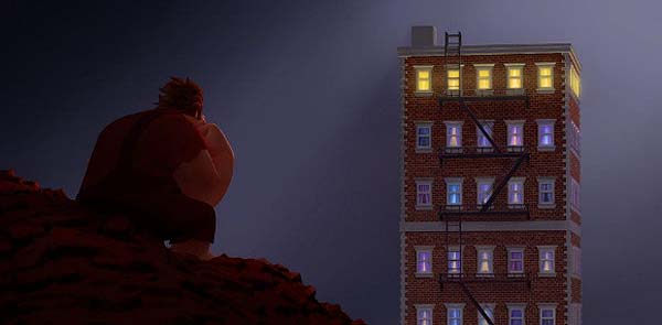 Concept Art</a>. Ralph (voice of John C. Reilly) spends his lonely evenings gazing at the apartment building that it's his job to destroy.