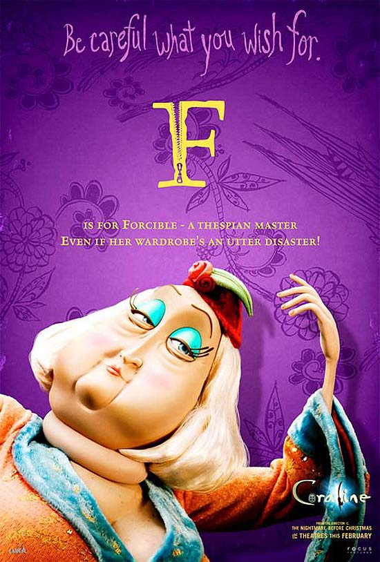F is for Forcible - a thespian master. Even if her wardrobe's an utter disaster!
