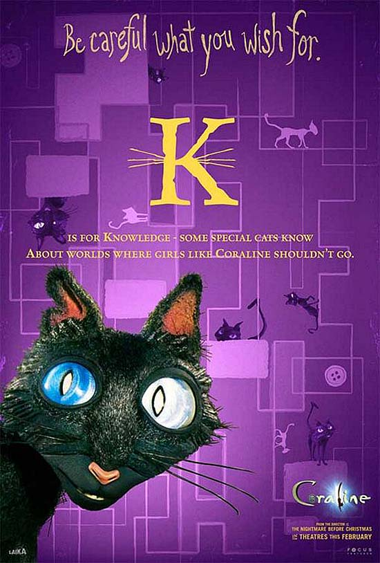 K is for Knowledge - some special cats know, about worlds where girls like Coraline shouldn't go