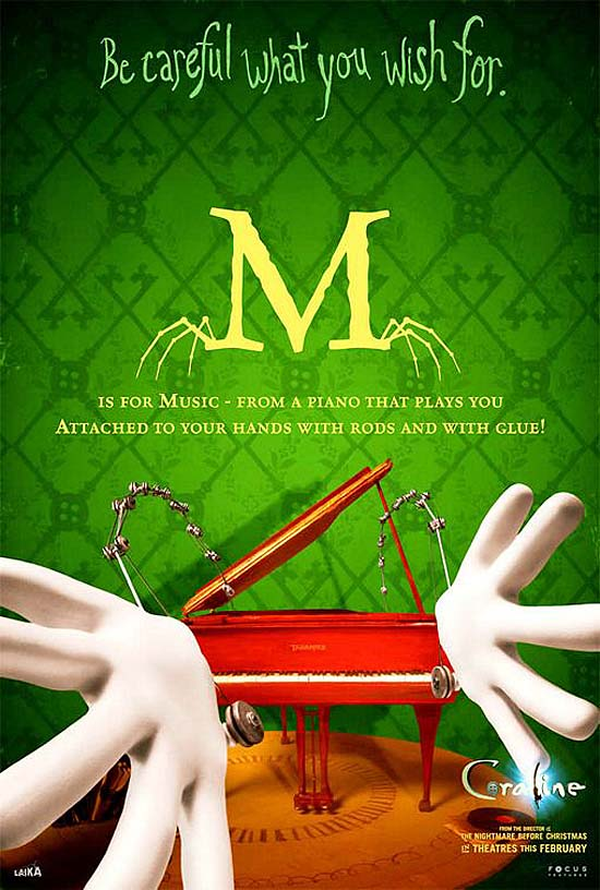 M is for Music - from a piano that plays you, attached to your hands with rods and with glue!