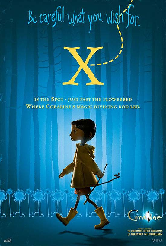 X is the Spot - just past the flowerbed, where Coraline's magic divining rod led