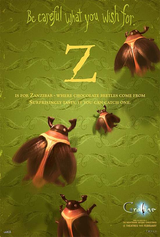 Z is for Zanzibar - where chocolate beetles come from, surprisingly tasty, if you can catch one