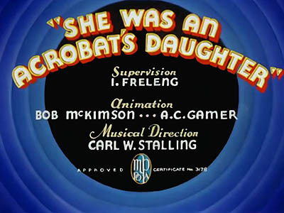 <i>She Was An Acrobat's Daughter</i> Title Card