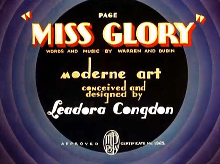Page Miss Glory Title Card